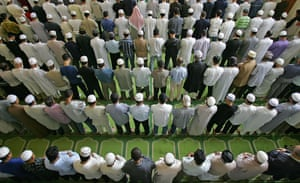 British Muslims during Friday prayers at the East London mosque.