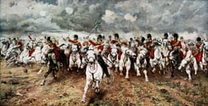 The charge of the Scots Greys at Waterloo, 18 June 1815. After the painting by Lady Butler.
