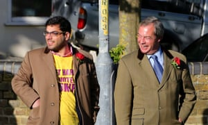 Raheem Kassam with Nigel Farage on the campaign trail during the election.