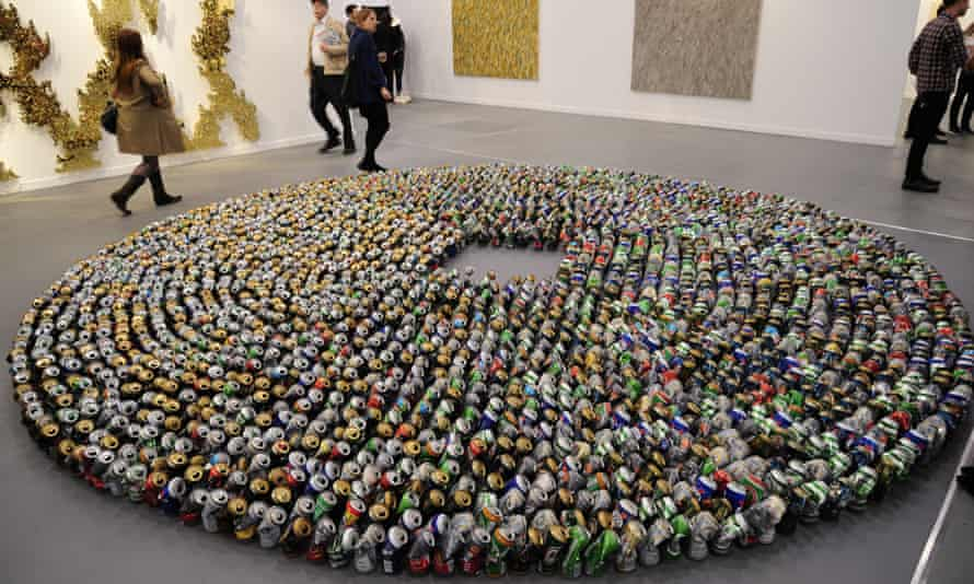 An artwork at Frieze New York made with hundreds of crushed beer cans.