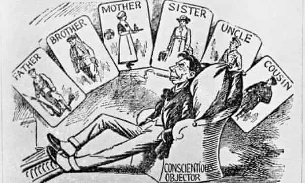 A scathing cartoon giving the contemporary view of first world war conscientious objectors
