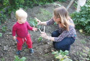 Joshua and me in the potato patch