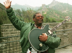 Visiting the Great Wall on 14 May 1994, ahead of his performance at the grand opening of the Hard Rock Cafe in Beijing.