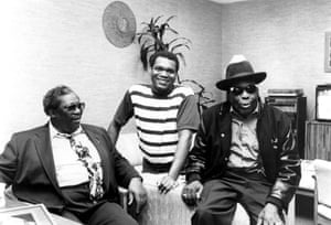 King with Robert Cray and John Lee Hooker in the 1980s.