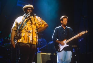 Performing with Eric Clapton at the Apollo theatre hall of fame, Harlem, New York, 1993.