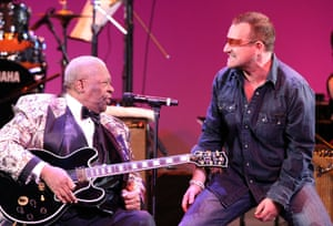 Performing with Bono of U2 during the Thelonious Monk Institute of Jazz honoring BB King event at the Kodak theatre in Los Angeles on 26 October 2008.