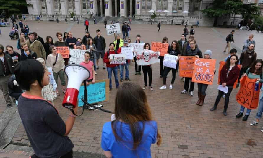 Pre-Vote Rallying — at University of Washington.