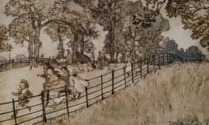 An illustration by Arthur Rackham from Peter Pan in Kensington Gardens.