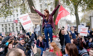 Lindsey Garrett delivers a speech opposite Downing Street as part of the campaign over the New Era e