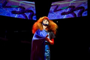 Björk unveils her seventh and most ambitious album Biophilia in a multimedia performance at Campfield Market Hall in 2011.