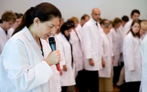 Marina Abramović performs her four-hour audience-participatory work The Test at the Whitworth Art Gallery in 2009.
