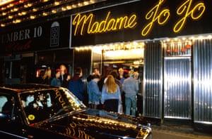 Outside Madame Jojo's in the 90s.