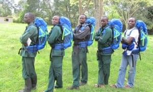 From right to left: Charles Friday, Godi Nyesiga, John Tweheyo, Amos Twinamasiko, and Paul Mugisha sporting new backpacks.