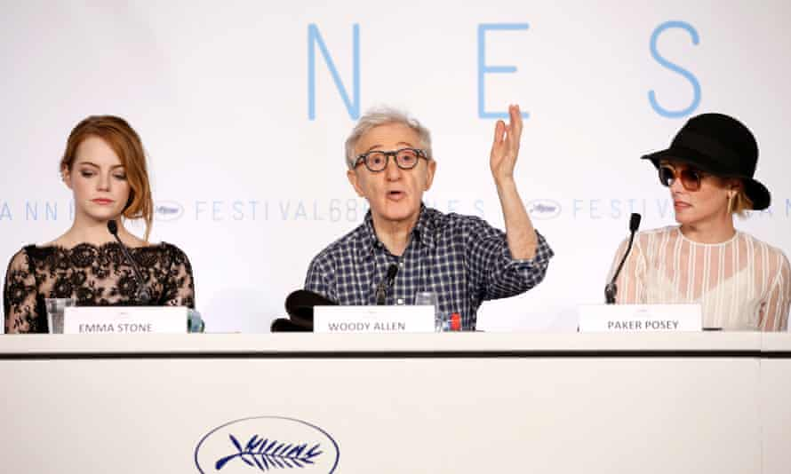 Emma Stone, Woody Allen and Parker Posey at the press conference.