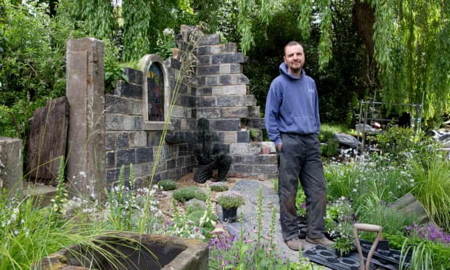 John Everiss in his garden.