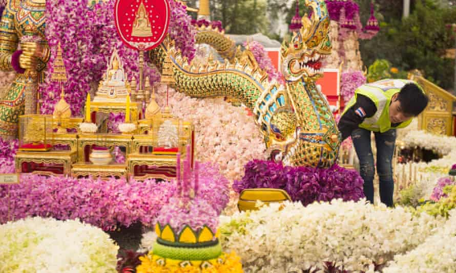 Final preparations are made to the Thailand Land Of Buddhism display at the Chelsea flower show.