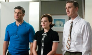 Stan Rizzo (Jay R Ferguson), Peggy Olson (Elisabeth Moss) and Ken Cosgrove (Aaron Stanton) in season five of Mad Men.