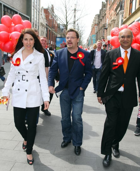 Liz Kendall on the campaign trail with Eddie Izzard and Keith Vaz in Leicester in 2010.
