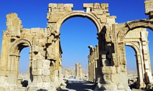 Hadrian's Gate, entrance to the excavation site of Palmyra in Syria.