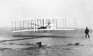 Orville Wright is at the controls of the Wright Flyer during the plane's first flight at Kitty Hawk, N.C. on Dec. 17, 1903