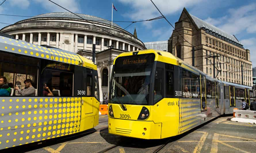 Trams in central Manchester