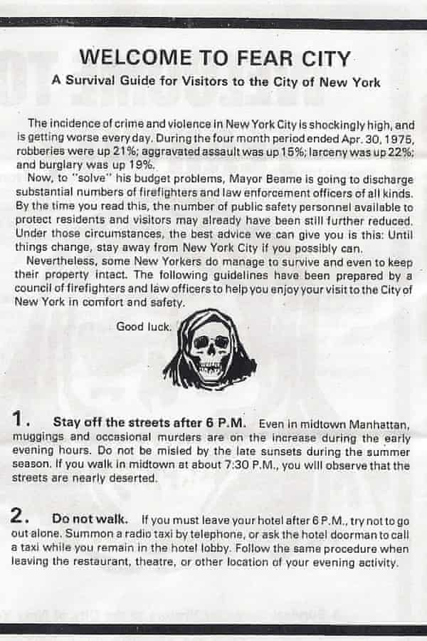 Page two of the Fear City pamphlet.