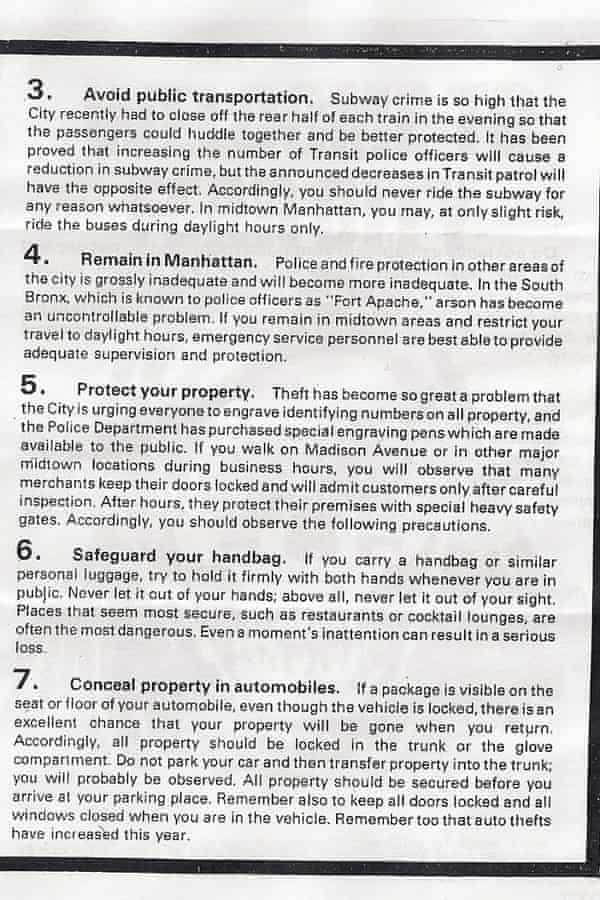 Page three of the Fear City pamphlet.