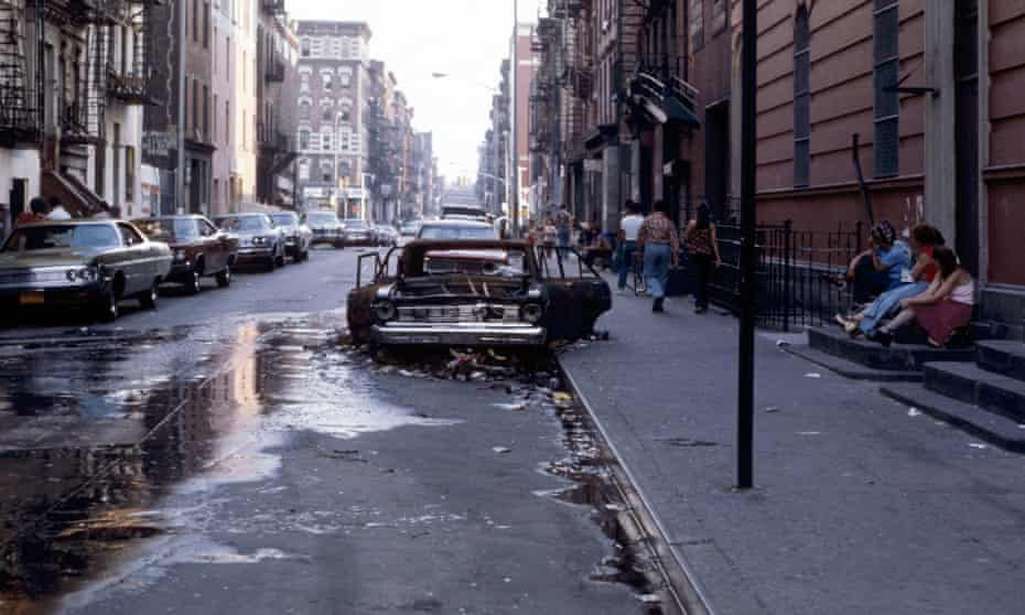 An abandoned car in Harlem during the summer of 1975.