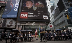 A memorial in Times Square for NYPD officer Brian Moore, killed on duty in May 2015.