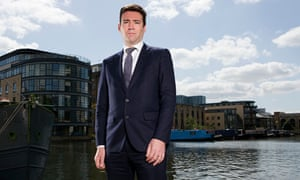 Andy Burnham photographed outside the Observer's offices in London.