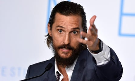 Matthew McConaughey at the press conference for The Sea of Trees.