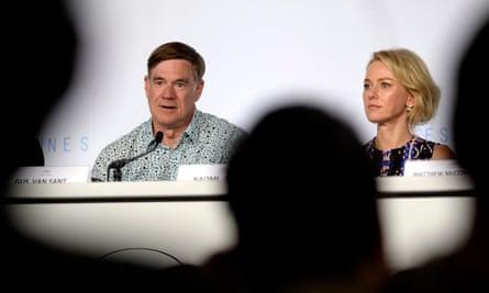 Van Sant and Naomi Watts at the press conference.