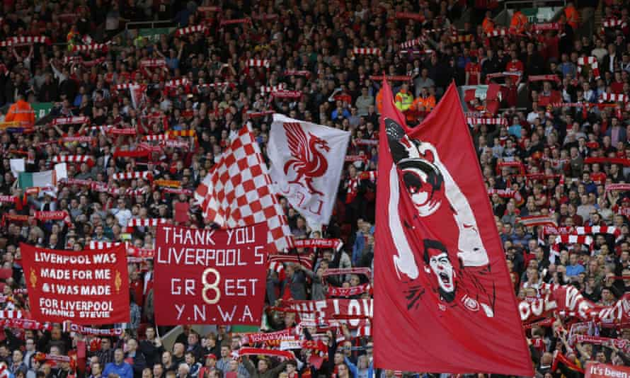 Liverpool fans spell out their gratitude to Steven Gerrard during his farewell match at Anfield against Crystal Palace on Saturday.