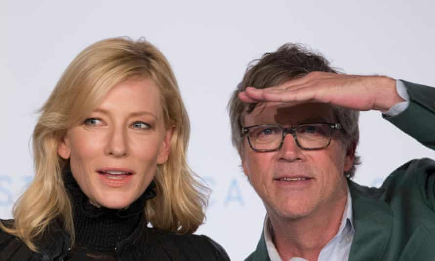 Cate Blanchett and director Todd Haynes at the Carol press conference.