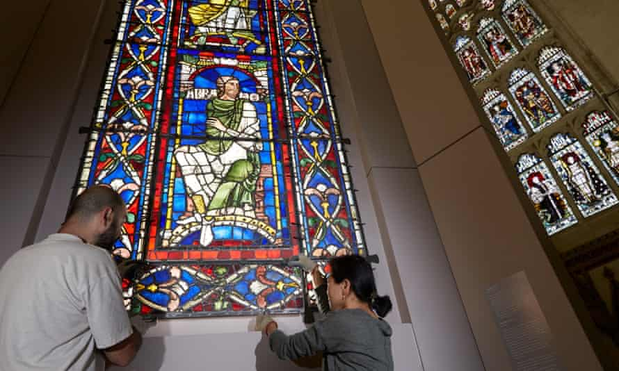 Stained glass windows from the 12th and 13th century go on display inside Canterbury Cathedral.