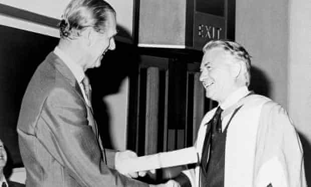 Ralph Lainson, right, being congratulated by the Duke of Edinburgh.