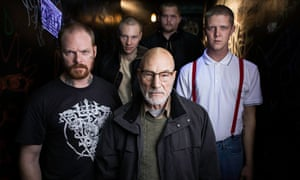 """A savage horror film"" ... Patrick Stewart and his crew in Green Room."