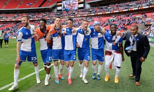 Bristol Rovers players celebrating at the end of their match against Grimsby Town