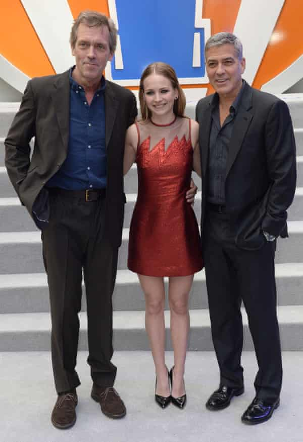 Clooney with Tomorrowland co-stars Hugh Laurie and Britt Robertson.