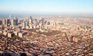 Melbourne from hot air balloon.