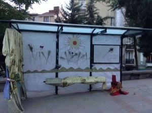 Bus stop at Taksim Square, Istanbul