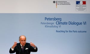 French foreign minister Laurent Fabius makes a speech during the Petersberg Climate Dialogue in Berlin, Germany, 18 May 2015.
