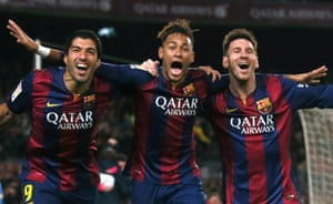 Barcelona's Luis Suárez, Neymar and Lionel Messi celebrate a goal in the 3-1 win over Atlético Madrid on 11 January.