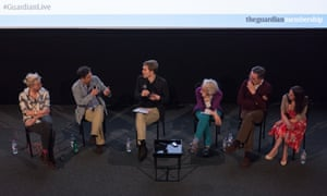 Panel at Guardian Live preview screening of We Are Many: (l-r) Tamsin Omond, Amir Amirani, Seumas Milne, Ruth London, John Rees and Katherine Connolly, 17 May 2015.