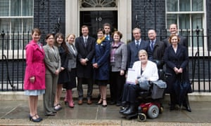 Party leaders deliver a petition calling for a revamped electoral system to Downing Street