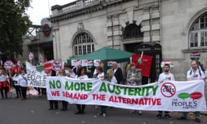 The People's Assembly gather at The Low Pay March in London 18 October 2014