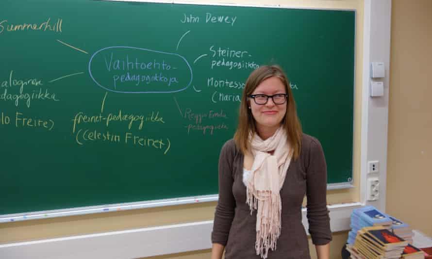 Maria Hyväri, a student teacher, runs a workshop at the Normal Lyceum in Helsinki.