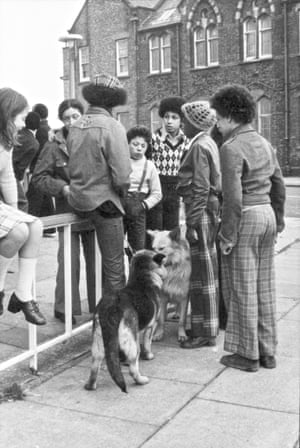 Youths with dogs in Toxteth.