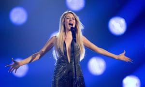 Greece's Maria Elena Kyriakou performs during rehearsals
