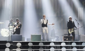 Members of the band Voltaj representing Romania perform during rehearsals